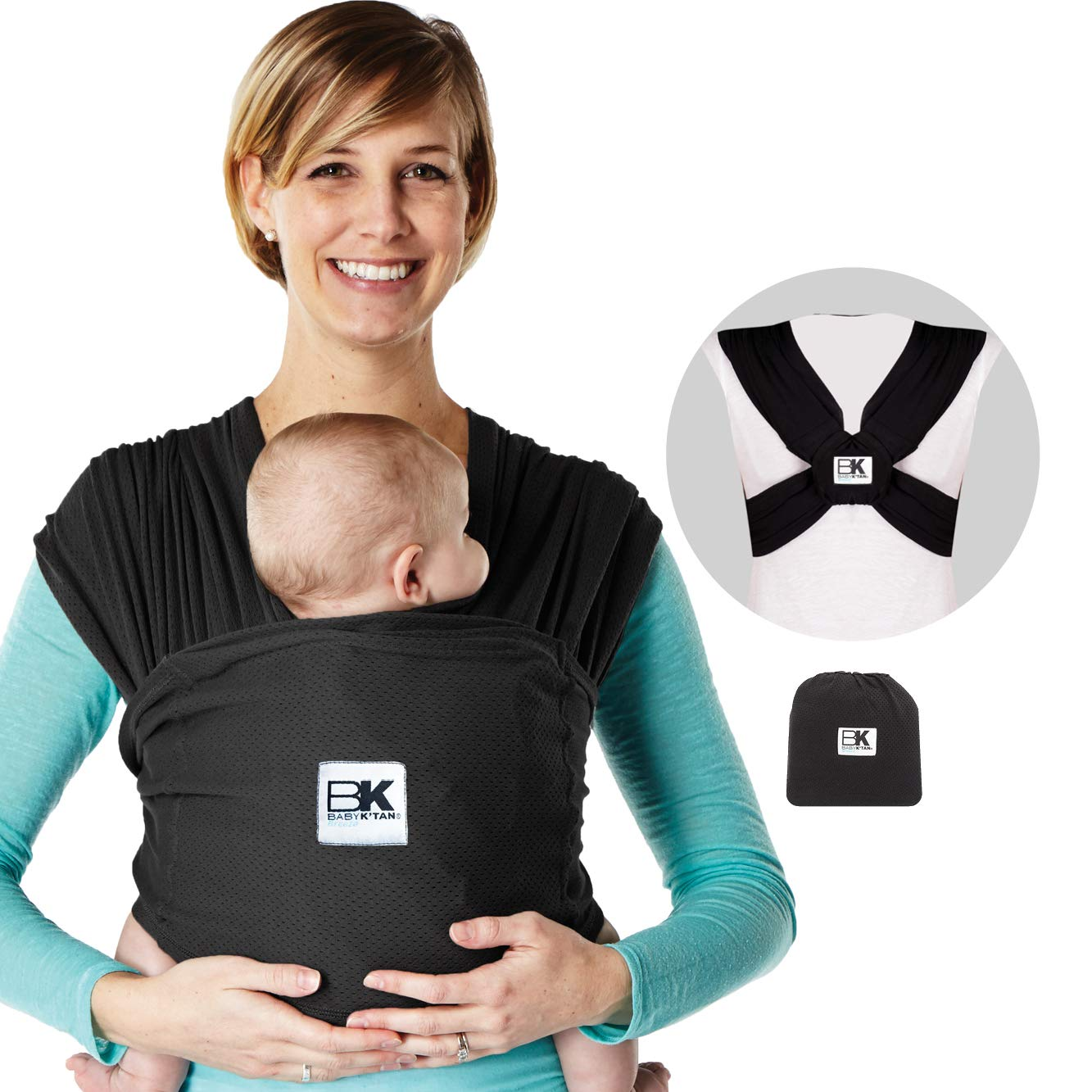 Baby Ktan Print Baby Wrap Carrier Newborn up to 35 lbs Infant and Child Sling-Charcoal Stripe XXS Best for Babywearing. W dress up to 0