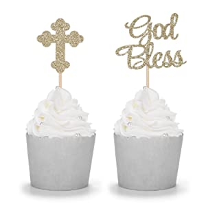 24 Counts Sparkly God Bless and Baptism Cupcake Toppers Christian Party Decorations
