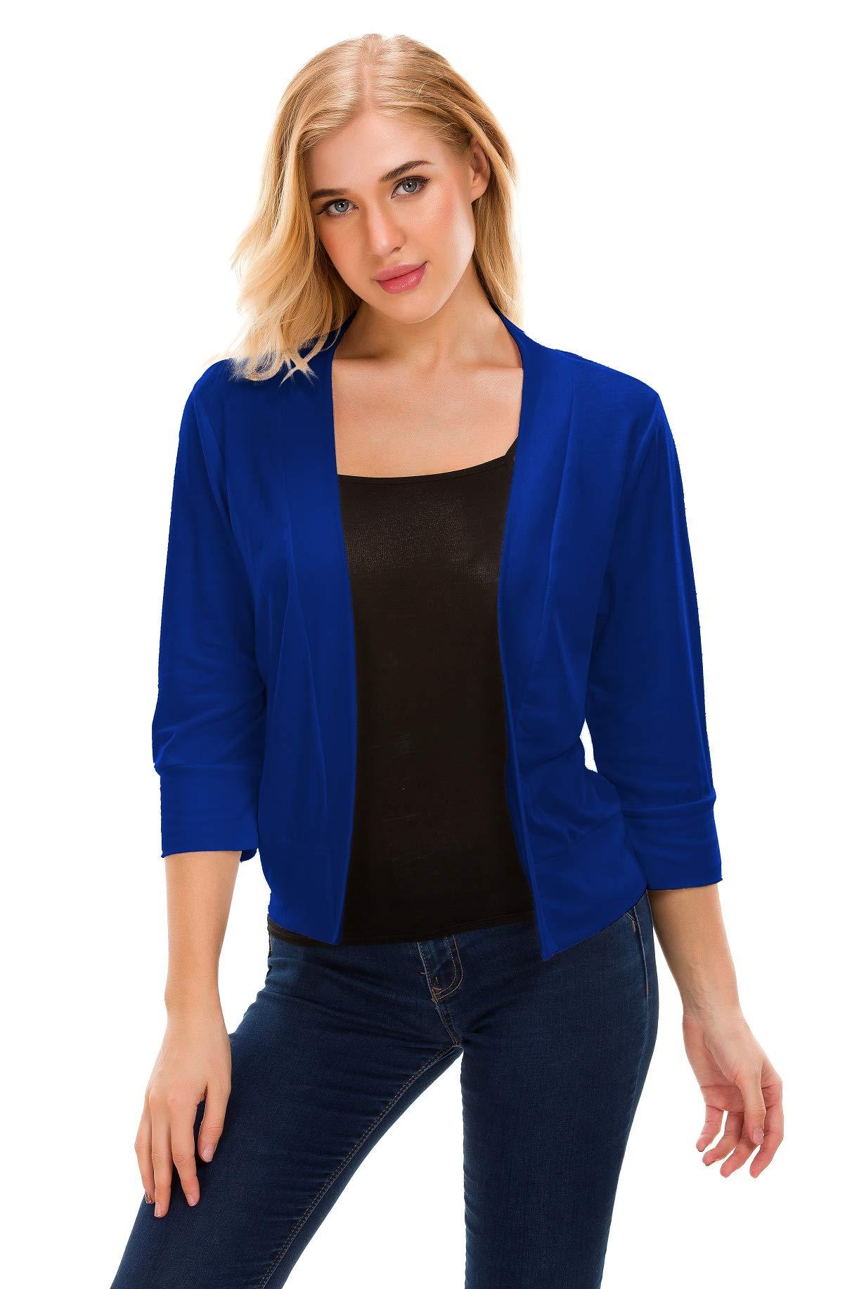 TownCat Womens Open Front Cardigans Classic 3/4 Sleeve Cropped Bolero Shrug Short Cardigans (Blue, S)