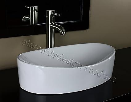 ELIMAXu0027S Bathroom Ceramic Vessel Sink 7756CL3 With Brushed Nickel Faucet U0026  Drain