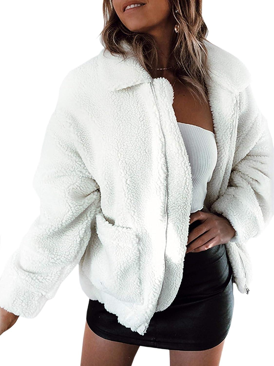 ECOWISH Damen Mantel Revers Faux Für Lose Langarm Outwear Tasche Reißverschluss Winterjacke Mode Kurz Coat EH818