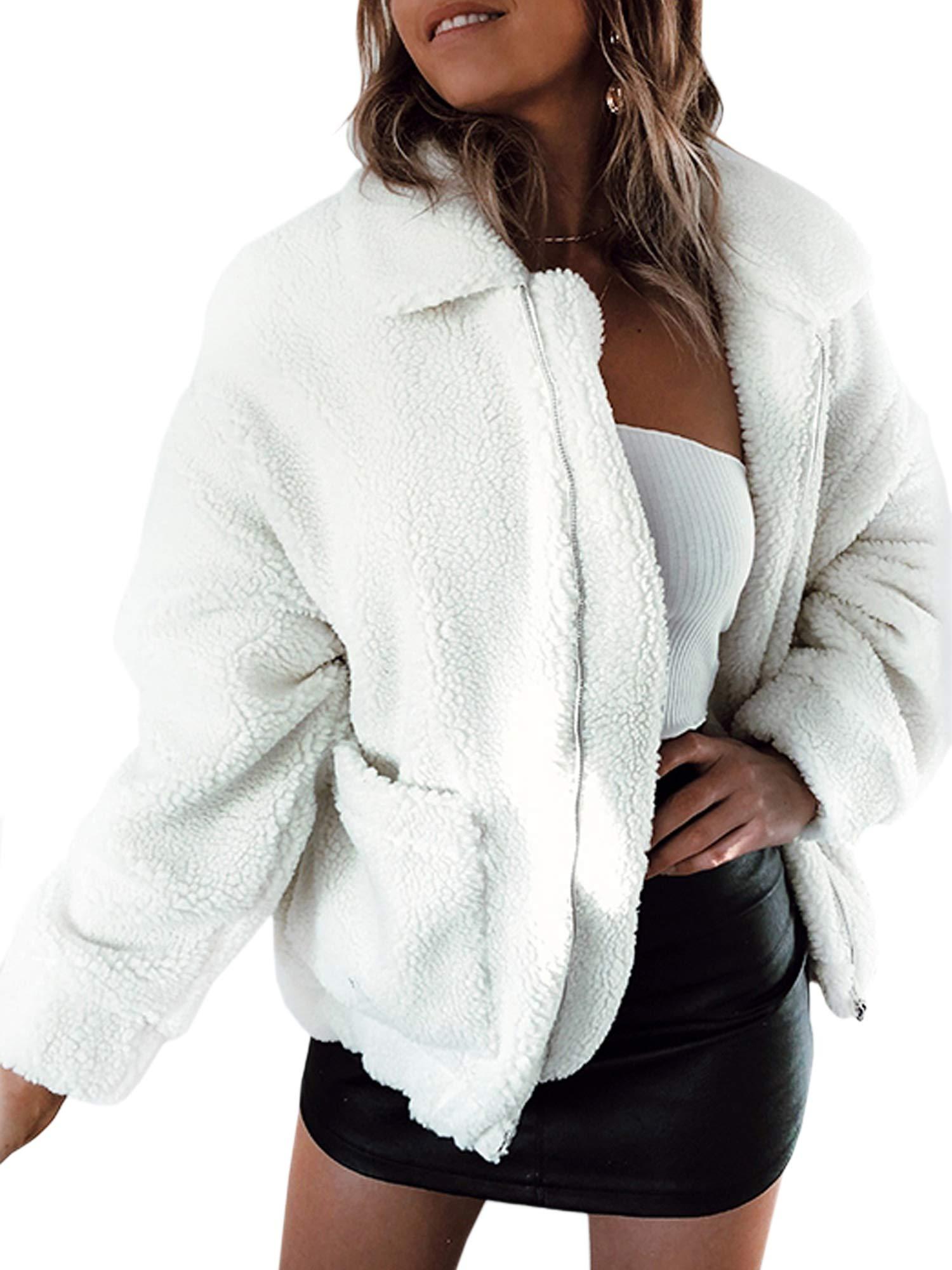 ECOWISH Women's Coat Casual Lapel Fleece Fuzzy Faux Shearling Zipper Warm Winter Oversized Outwear Jackets White_1 XL