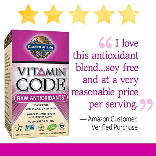 Jardín de la vida vitamina código crudo Antioxidantes (30 Ultra Zorb vegano Cápsulas): Amazon.es: Salud y cuidado personal