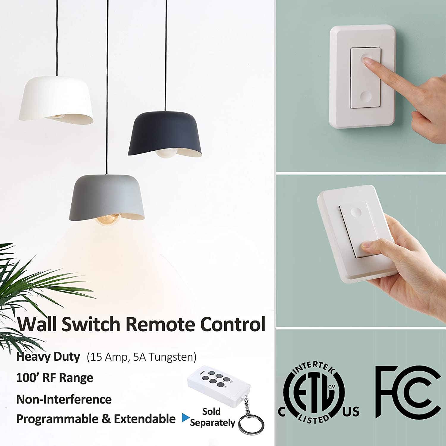 Dewenwils Wireless Wall Switch Remote Control Outlet Electrical Fan Light Pull Cord On Off For Lamp No Interference 15 Amp Heavy Duty 100 Rf Range