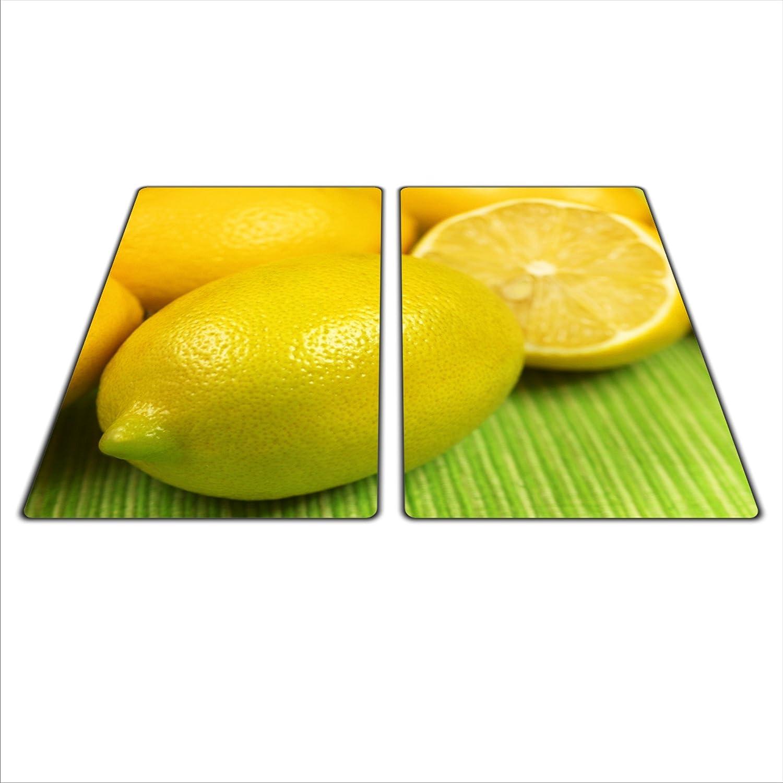 Zitrone motiv Herdschutz aus Glas 2x 29x52 für Ceran//Induktion
