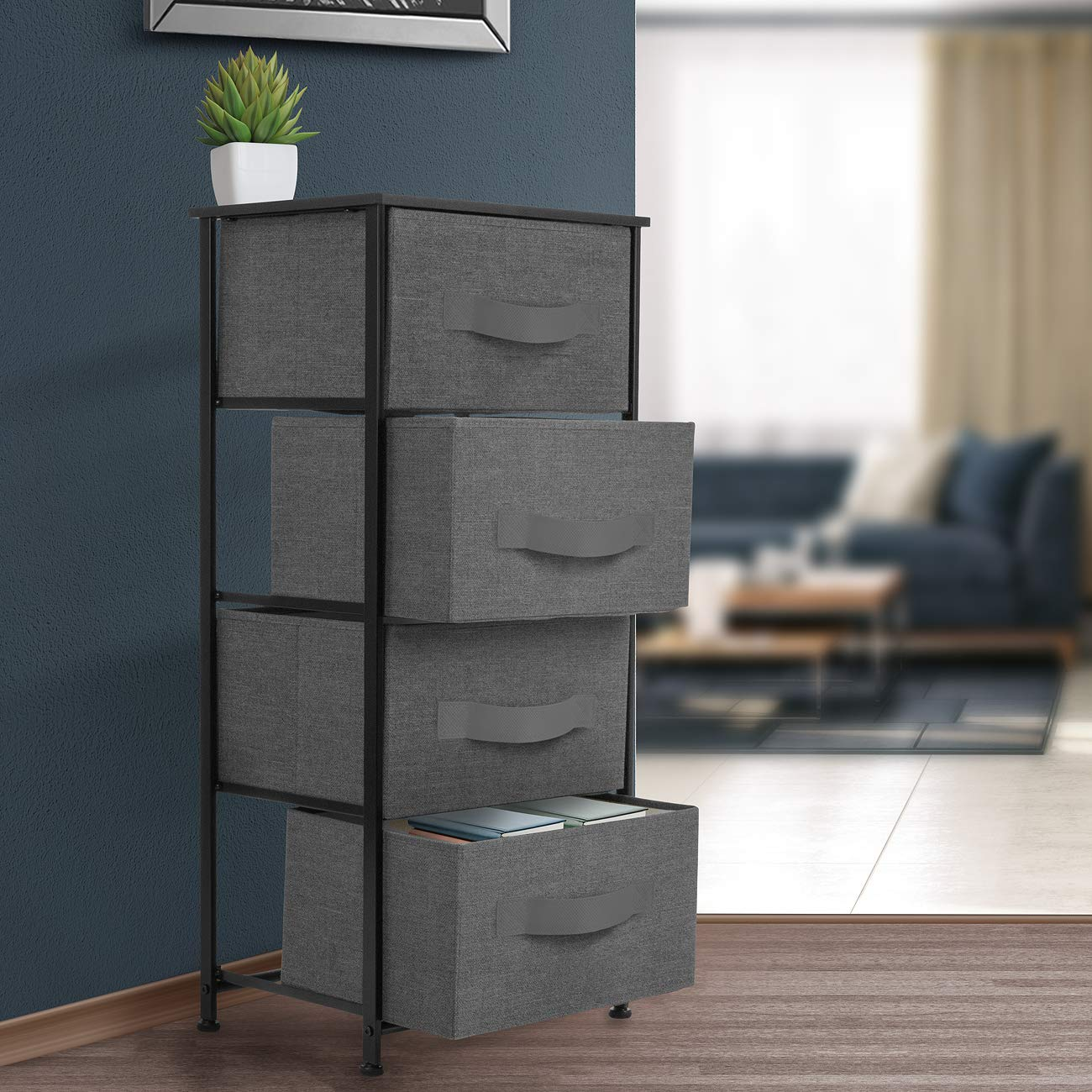 Sorbus Nightstand Chest with 4 Drawers – Bedside Furniture End Table Dresser for Clothing, Bedroom Accessories, Office, College Dorm, Steel Frame, Wood Top, Easy Pull Fabric Bins Black Charcoal