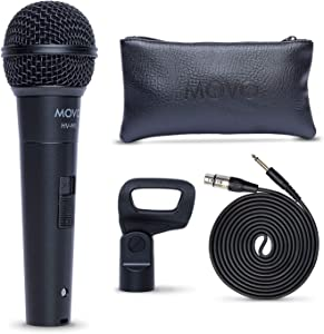Movo HV-M5 Dynamic Cardioid Vocal Microphone with Internal Shockmount and Windscreen - XLR Compatible Dynamic Microphone with 6.35mm Adapter - Professional Microphone for Singing and Recording