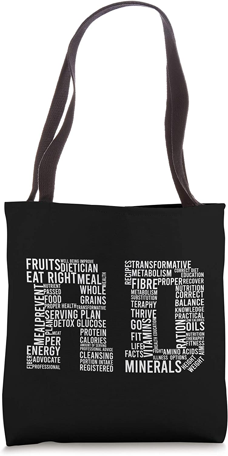 RD Words Registered Dietitian Dietician Nutrition Food Gift Tote Bag