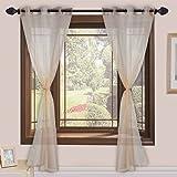Homefab India 2 Piece Sheer Strips Window Curtain - 5 ft, Beige