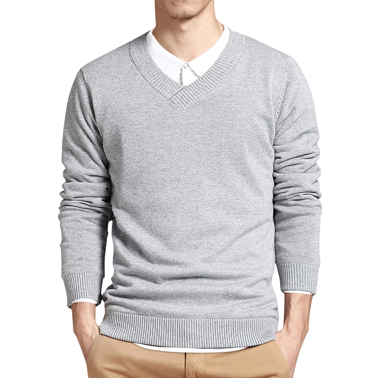 LTIFONE Mens Slim Comfortably Knitted Long Sleeve V-Neck Sweaters (Large, Grey)