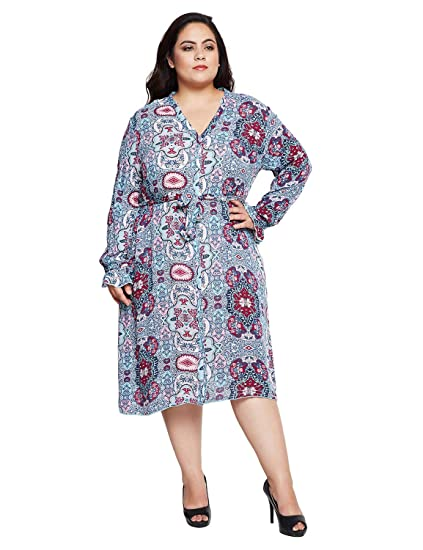 a4b4cd99f21 oxolloxo Plus Size Women V Neck Blue Dress Long Sleeves  Amazon.in  Clothing    Accessories