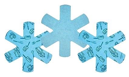 Kitchen Craft Set de Protectores para Sartenes, Algodón, Azul, 40x40x40 cm 3 Unidades