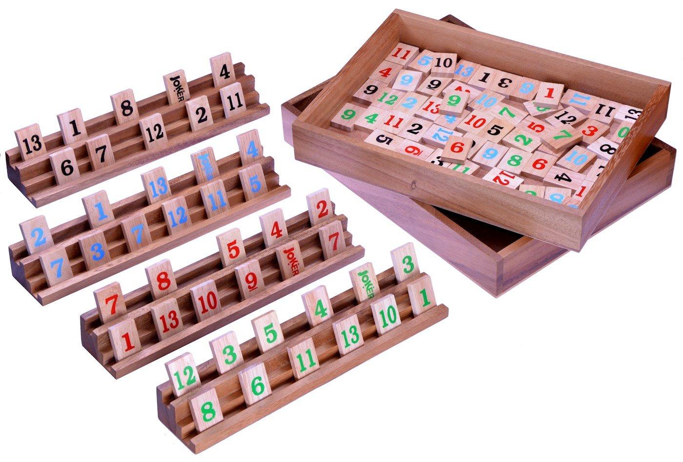 Rummy - Strategiespiel - Gesellschaftsspiel - Legespiel in sehr edler Ausführung - alle Teile aus Samena und Hevea Holz