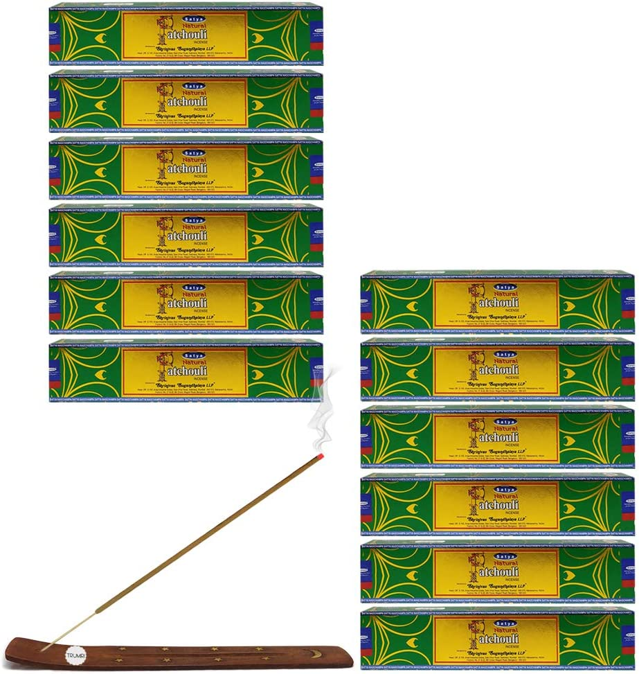 Satya Natural Patchouli Agarbatti Pack of 12 Incense Sticks Boxes, 15gms Each, Traditionally Handrolled in India, Candles with Natural Scent for Prayers Meditation, Yoga, Relaxation Positivity Healing