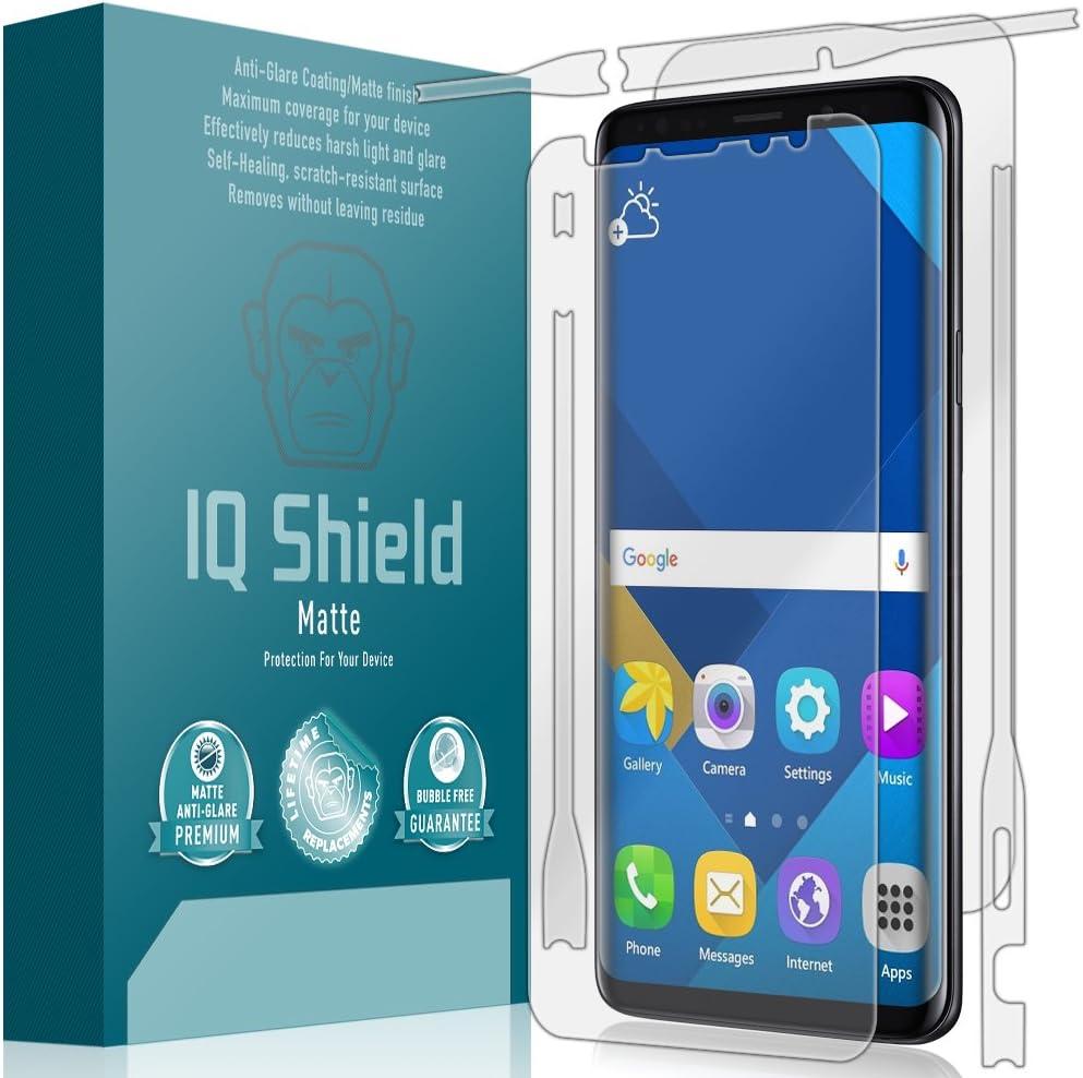 Screen Protector and Anti-Bubble Film Full Coverage Anti-Glare IQ Shield Matte Full Body Skin Compatible with Samsung Galaxy S9 Plus