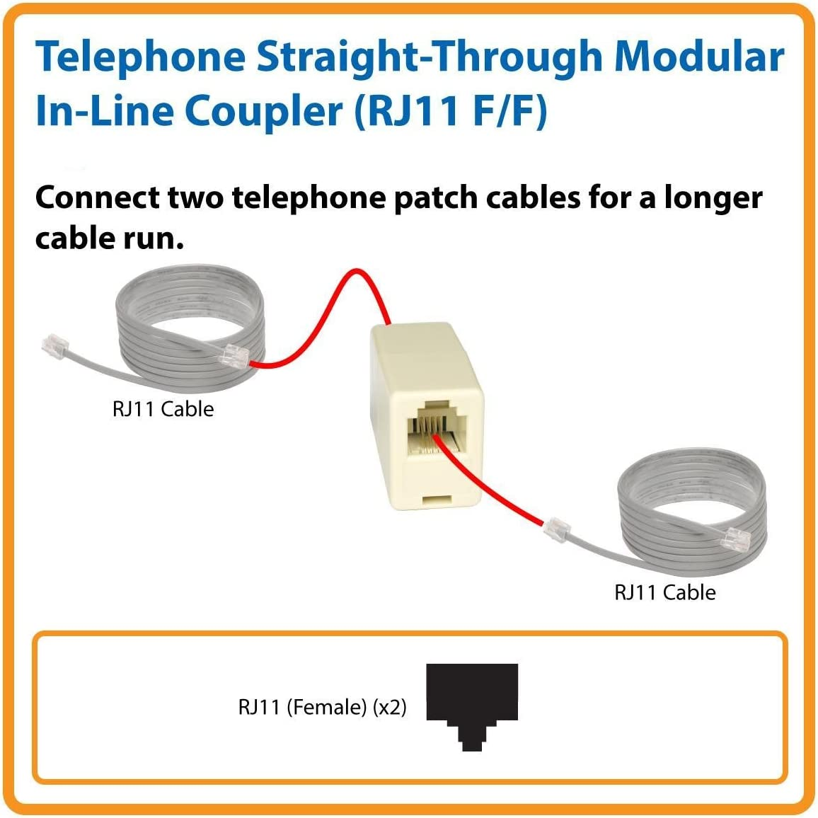 5 Pack iMBAPrice RJ11 6P4C Straight Telephone Inline Coupler