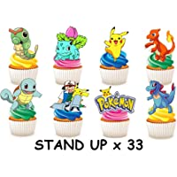 33 x Pokemon Party STAND UP Eetbare Papier Cupcake Toppers Taart Decoraties