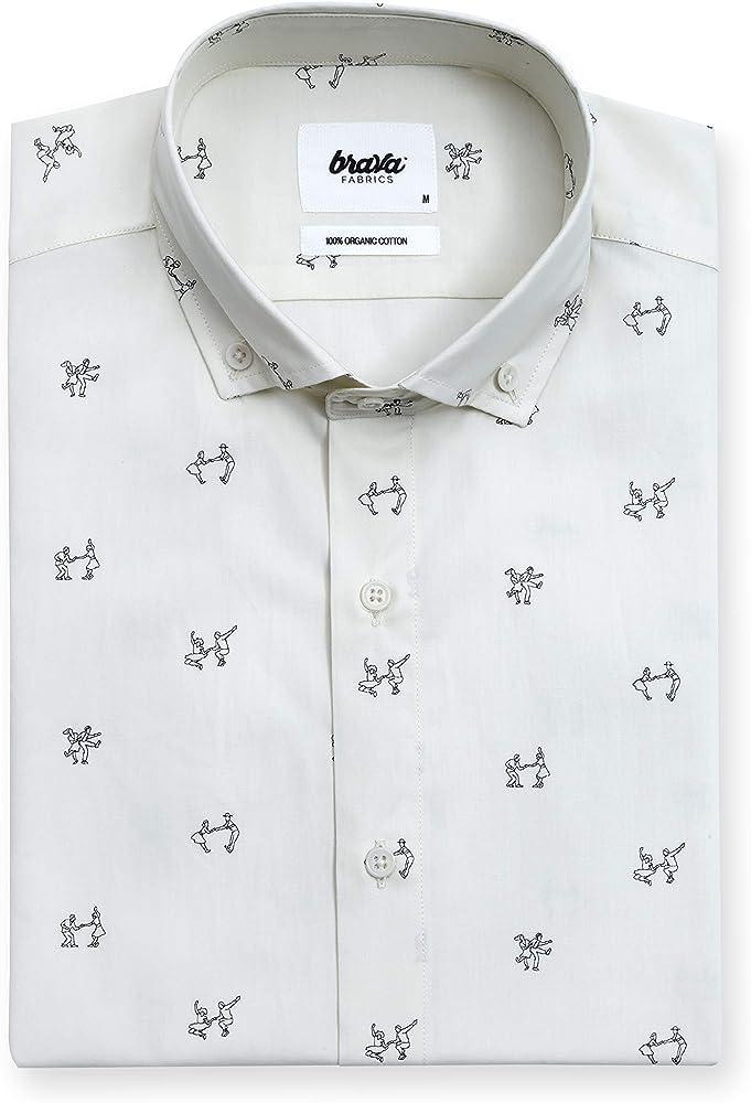 Brava Fabrics - Camisa de Hombre - Camisa Casual para Hombre - Camisa de Hombre - 100% Algodón - Modelo Lets Swing Again: Amazon.es: Ropa y accesorios