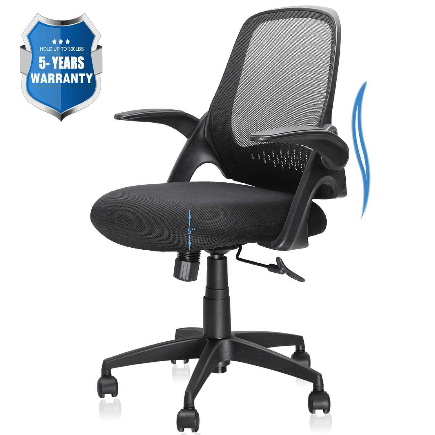 Office Chair, Computer Desk Chair with Ergonomic Back Support and Thick Cushion, Mid Back Task Chairs with Flip-up Arms, Hold up to 300LBS, 5-Years Warranty (Mid-Back, Black) by Ergousit