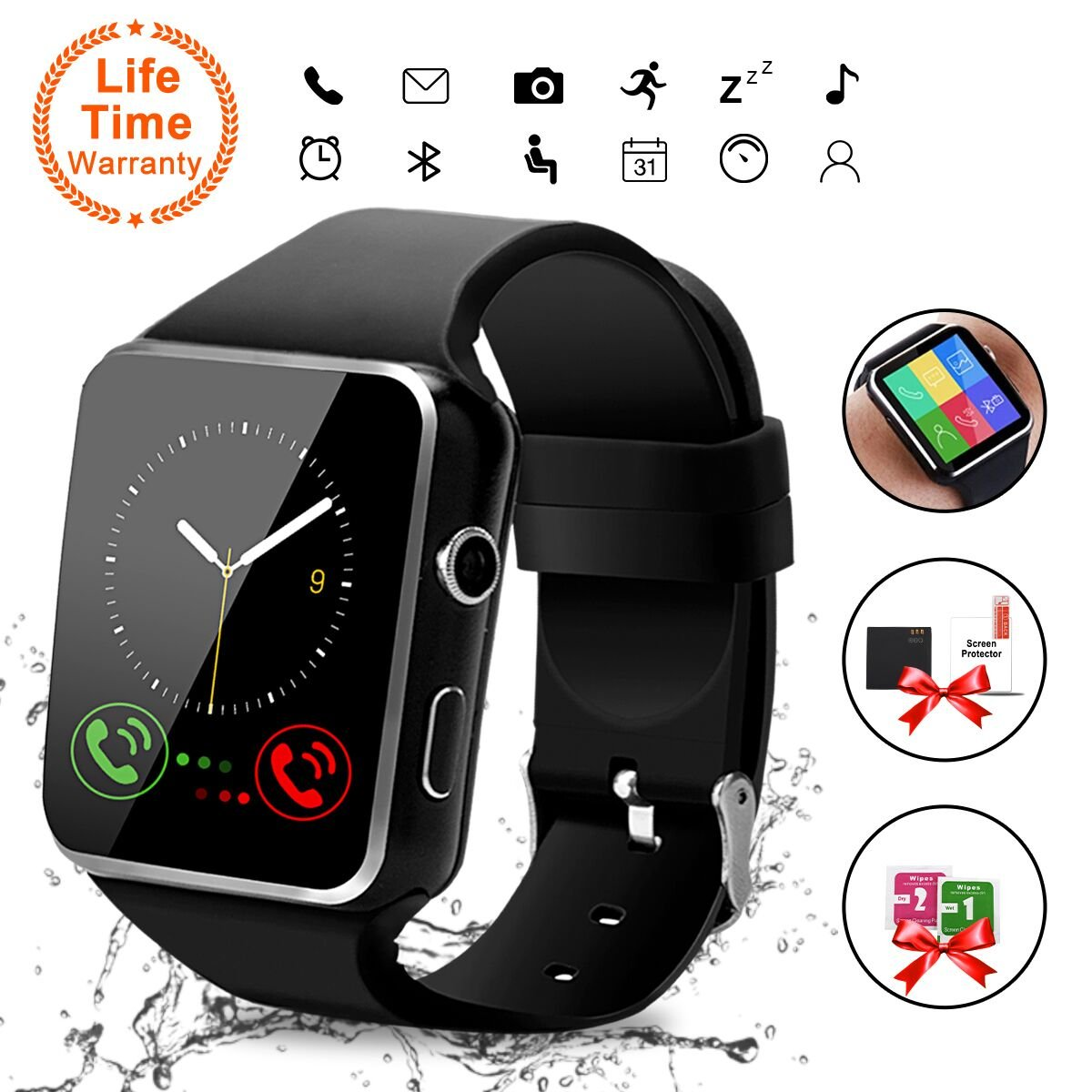 ... Wrist Watch with Camera/SIM Card Slot,Waterproof Smart Watch Sports Fitness Tracker Android Phone Watch Compatible with Android Phones Huawei Samsung