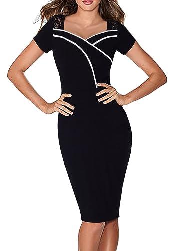 HOMEYEE Women's Elegant Lace Short Sleeve Black Sheath Pencil Dress B318