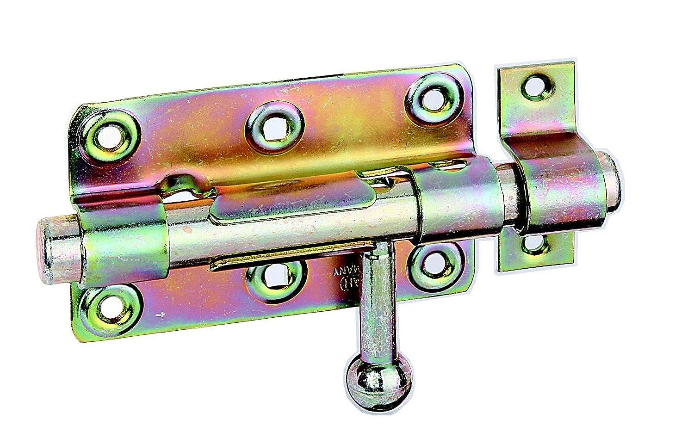 GAH Alberts Verrou de box ou targette à bouton rond et gâche fixe 99 x 60 mm Surface galvanisée à chaud (Jaune) GAH-ALBERTS 129026