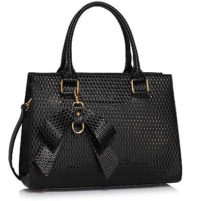 f25c278e33 Womens Designer (Black) Shoulder Handbags Ladies Faux Leather Fashion Grab  Bags