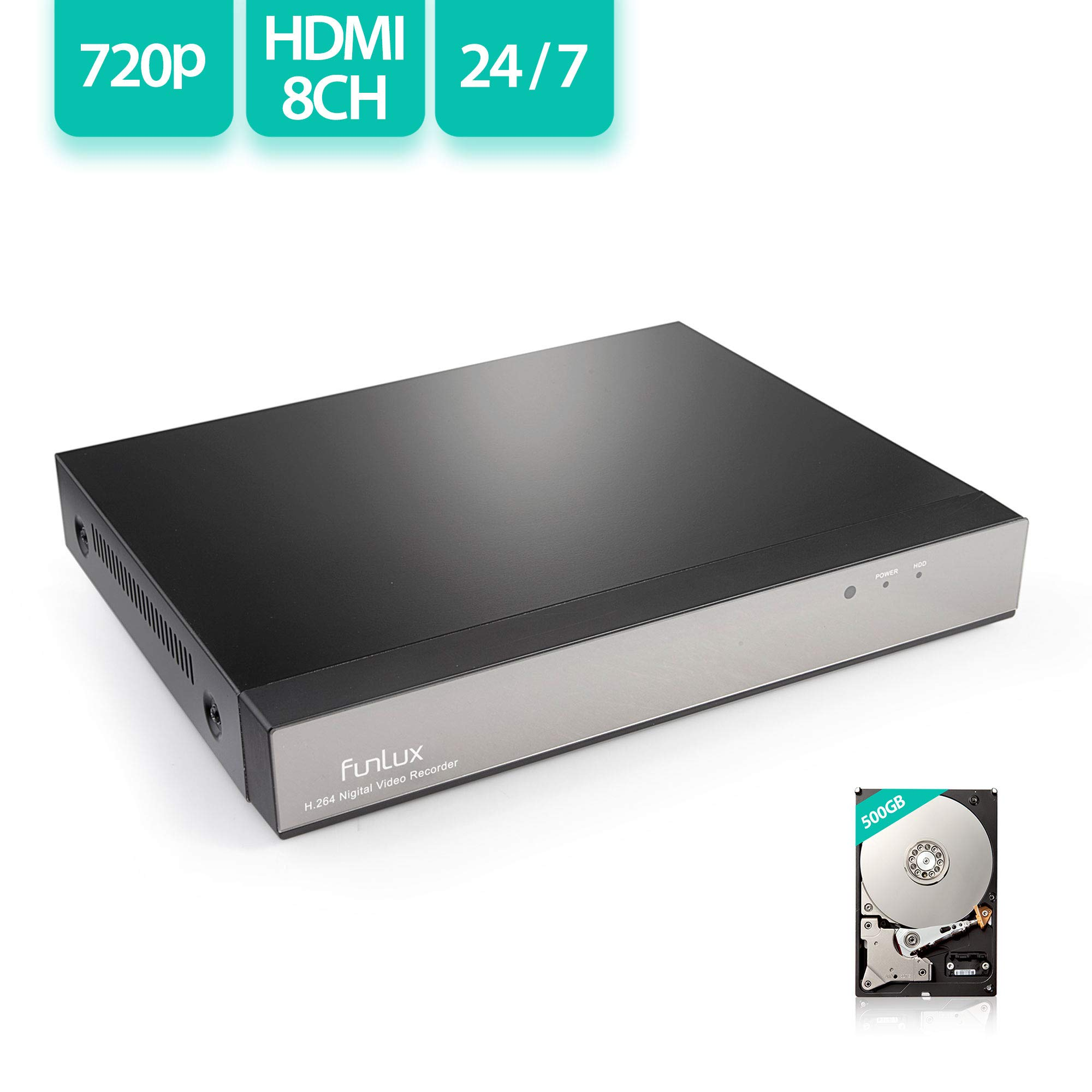 Funlux 720P HD 8CH NVR w/ 500GB Hard Drive(Compatible with Zmodo, SHO,Funlux Cameras)