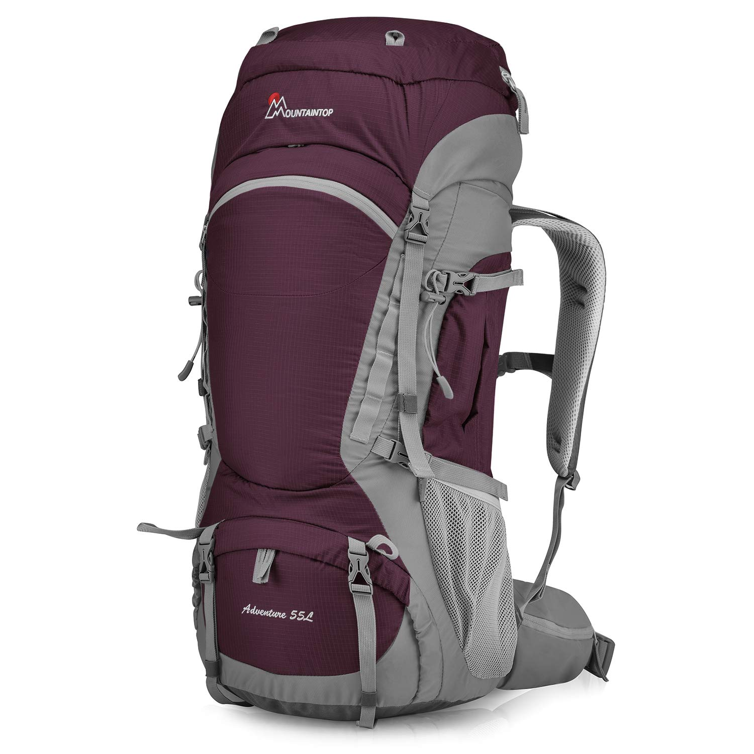 MOUNTAINTOP 55L Hiking Internal Frame Backpack with Rain Cover by MOUNTAINTOP