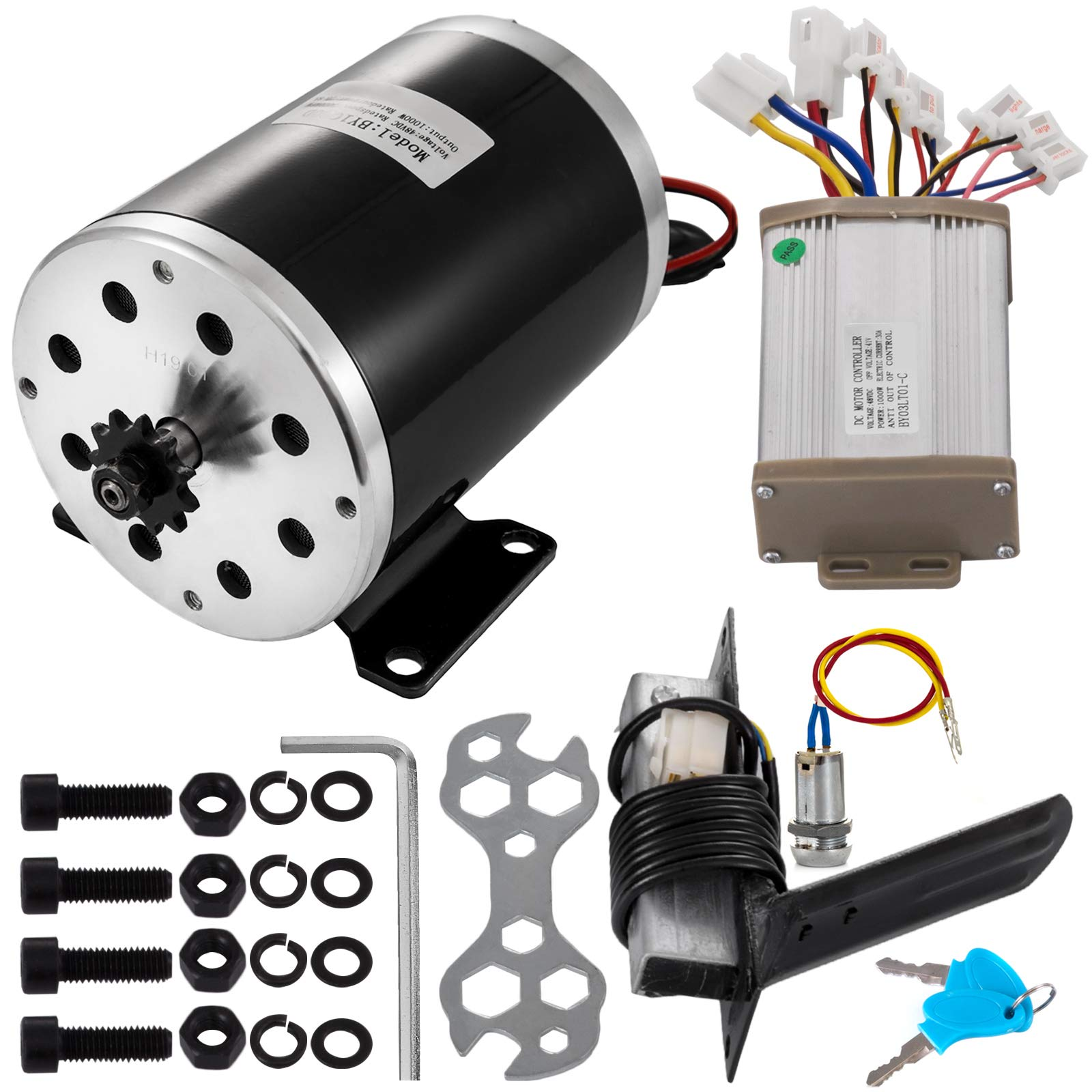 Mophorn Electric Permanent Magnet Motor 48V DC 1000 Watt with Controller & Pedal & Ignition Key 11Tooth #25Chain Sprocket and Mounting Bracket for Go Karts Scooters & E-Bike