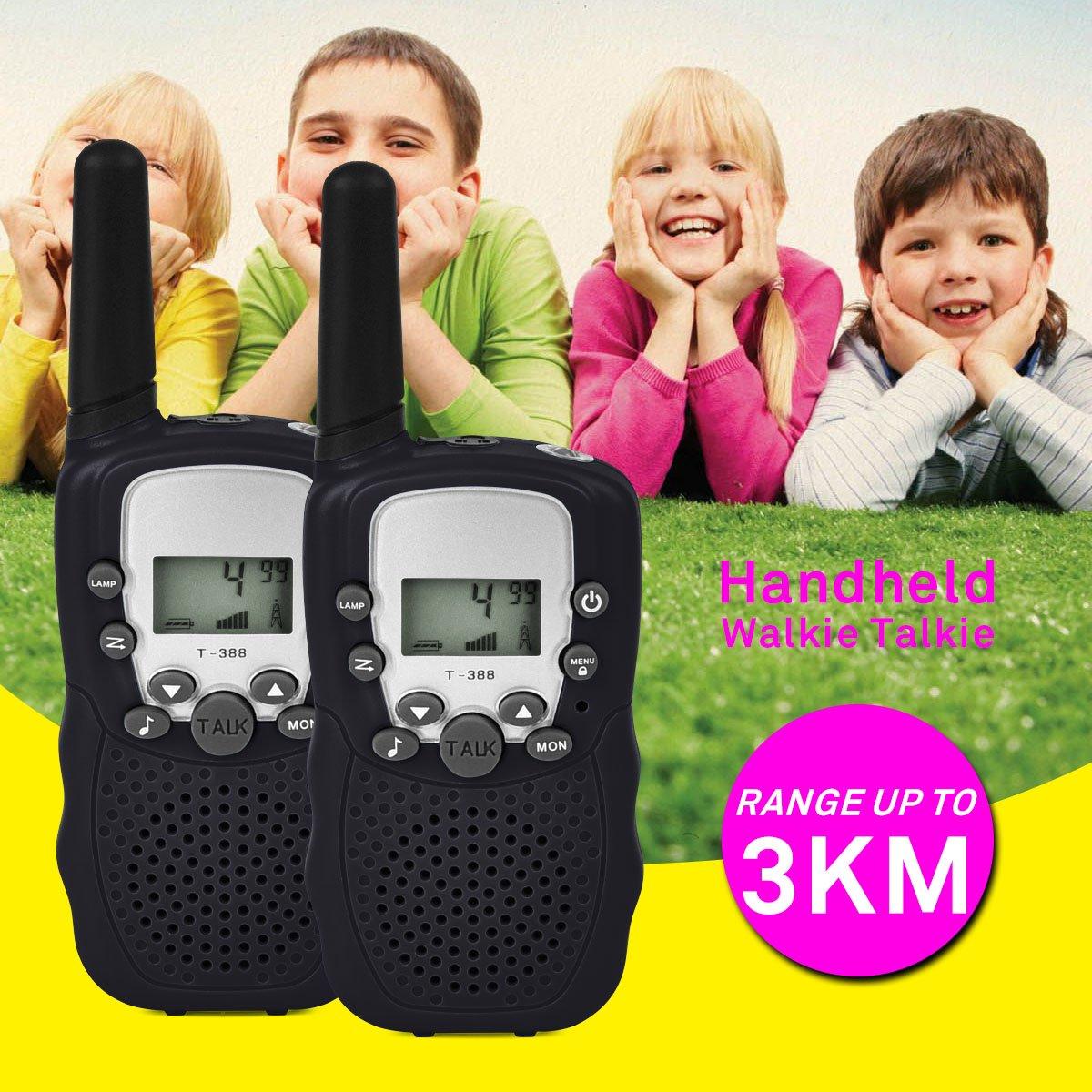 Lot de 2 Walkie Talkies pour enfant avec chargeurs et piles Jouet pour enfant avec 8 piles rechargeables Port/ée de 3 km lampe de poche 8 canaux