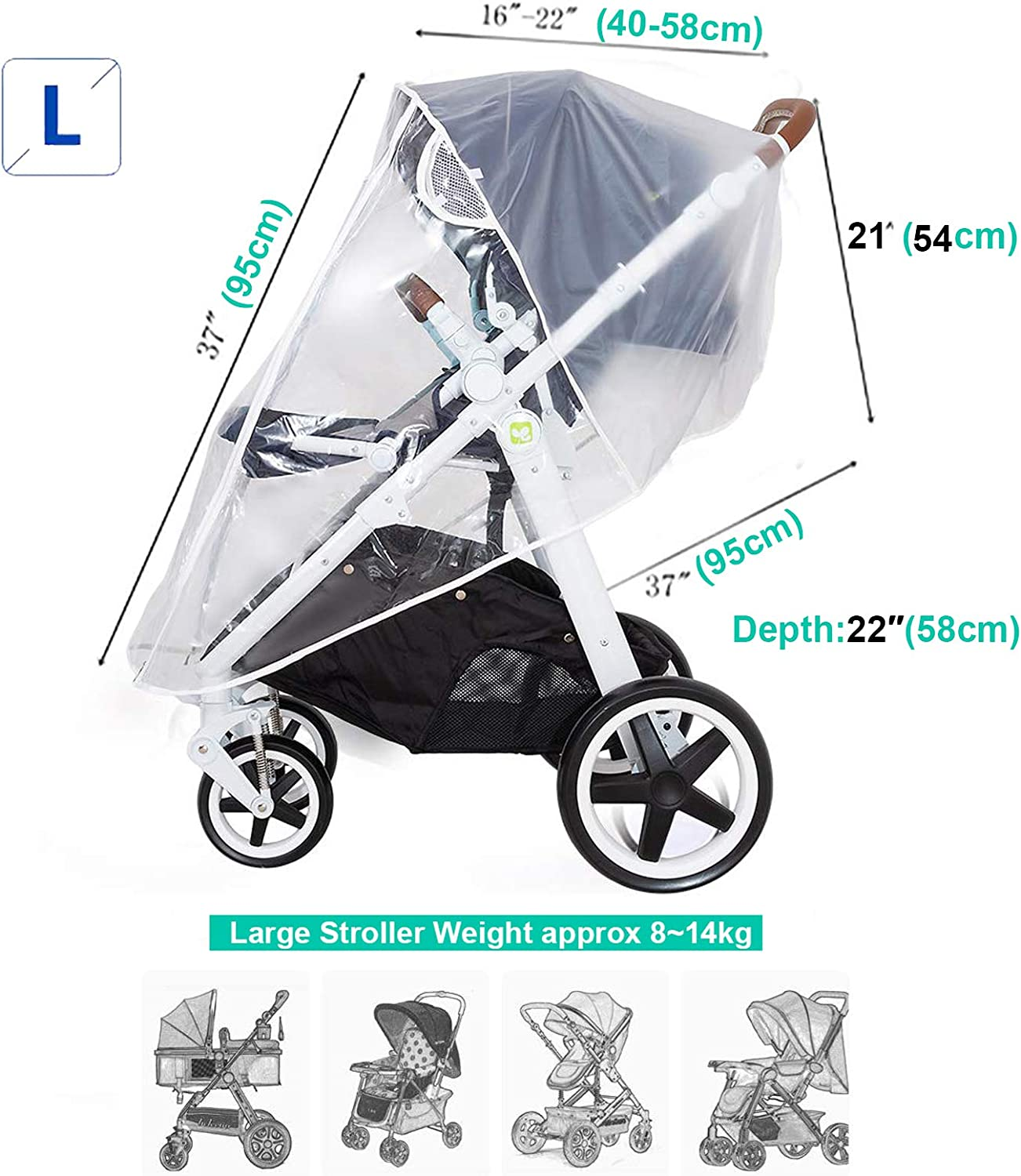  PVC-Free Stroller Buggy Air Circulating Water Resistant and Durable Baby Against Rain Snow Wind Sleet Dust Travel Outdoor Clear EVA Transparent Black-L Universal Rain Cover for Pushchair