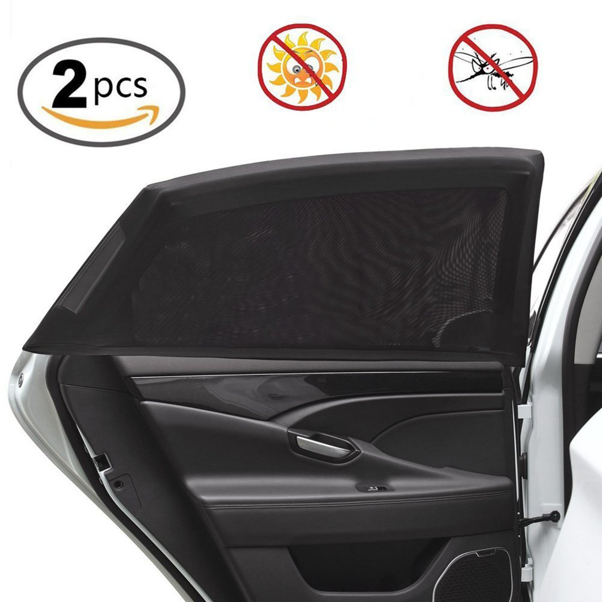 Safety Sun Shades for Anti-Mosquito Protection for Your Baby Women and Auto Interior Fit Most Cars//SUVs L Neonr Universal Car Side Window Shade Mesh 2 Pcs,Large