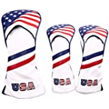 1 3 5 Golf Headcovers USA Stars and Stripes White Vintage Retro Patriotic Driver Fairway Wood Cover