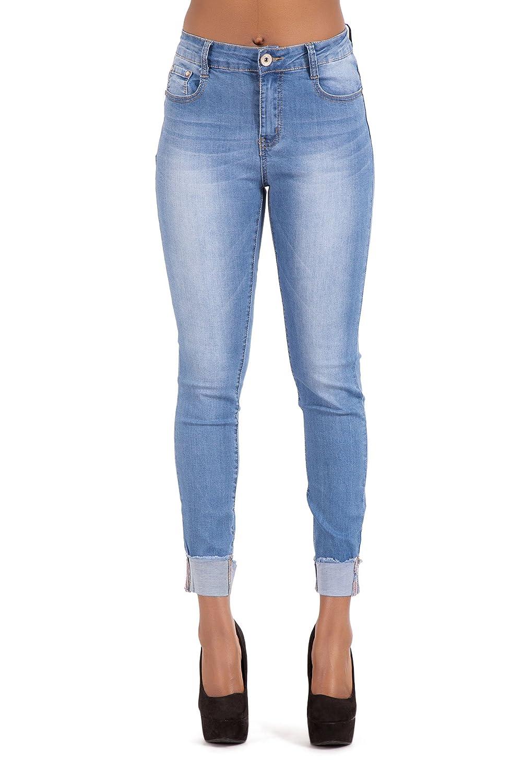 Womens Black Turn Up Hem Jeans Ladies Skinny Fit Faded Denim Trousers SIZE 14