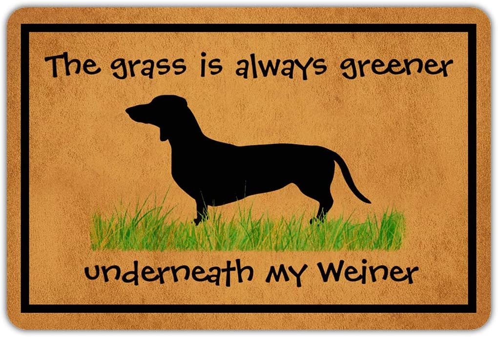 Joelmat The Grass is Always Greener Underneatn My Weiner Entrance Non-Slip Indoor Rubber Door Mats for Front Door/Bathroom/Garden/Kitchen/Bedroom 23.6