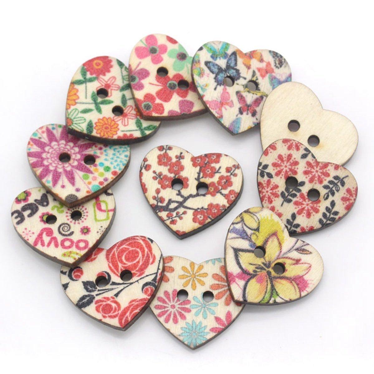 Bottoni in legno a forma di cuore per accessori da cucito fai da te EOYHDSIA