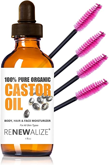 Renewalize Orgánico certificado aceite de ricino - esencial para el crecimiento de pelo grande 4 Oz. Cristal Oscuro botella con cuentagotas | Pestañas crecer más grueso Claro: Amazon.es: Belleza