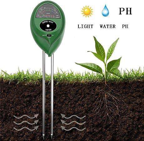 Chengstore Medidor de pH para Suelos, 3-en-1 Sensor de Humedad/luz/pH para macetas de Plantas con Cabezal Redondo Cabeza para jardín, césped, Granja: Amazon.es: Hogar