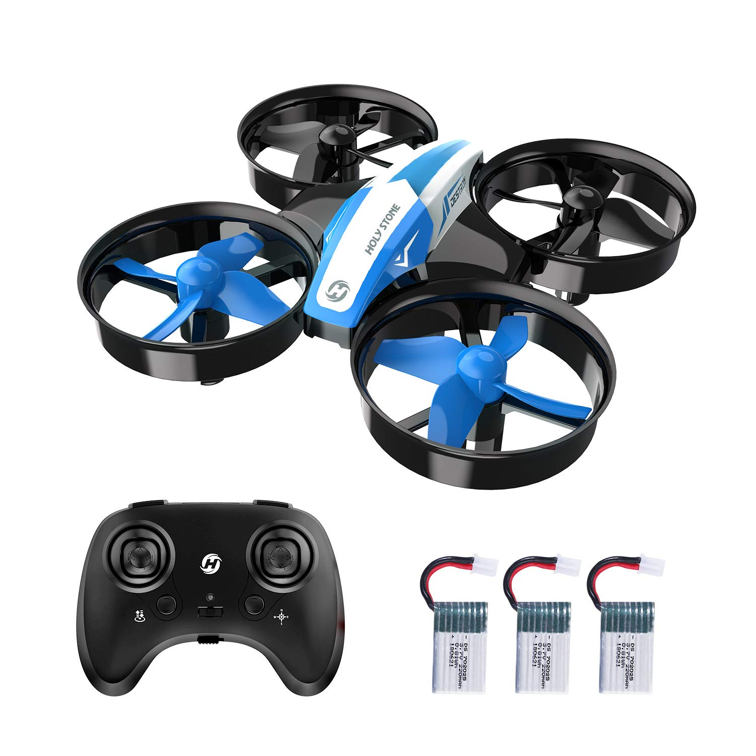 Holy Stone Mini Drone for Kids and Beginners RC Nano Quadcopter Indoor Small Helicopter Plane with Auto Hovering, 3D Flip, Headless Mode and 3 Batteries, Great Gift Toy for Boys and Girls, Blue by Holy Stone (Image #1)