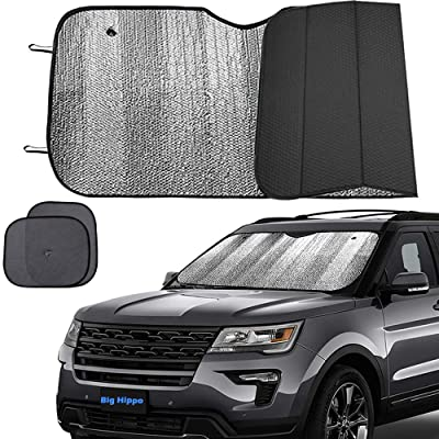 Big Hippo Windshield Sun Shade, Car Window Shade as Bonus Keep Vehicle Cool Windshield Sunshade Protect Your Car from Sun Heat & Glare Best UV Ray Visor Protector -Silver/Black (Size: 55.16X 27.5inch): Automotive