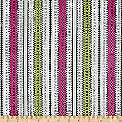 Ink & Arrow Wool Ewe Geometric Stripe White Fabric By The Yard