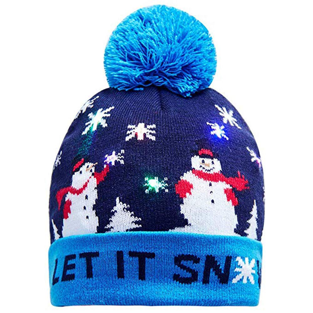 063e9b453 Newest Novelty Hat, Toamen Colorful LED Light-up Merry Christmas Knit Hat  Beanie Hairball Warm Cap Gifts, LED Light Detachable