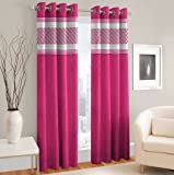 La Elite Abstract 2 Piece Eyelet Polyester Window Curtain Set - 5ft, Pink