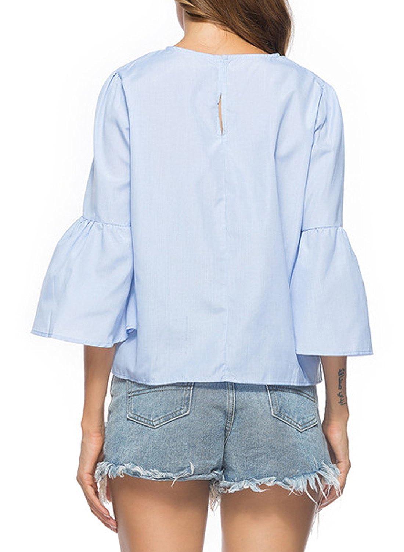 Azbro Mujer Blusa Pullover con Perlas con Mangas de Llamarada 3/4: Amazon.es: Ropa y accesorios
