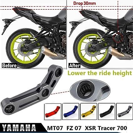 Bleu MT07 FZ07 Kit de biellette de suspension arri/ère 30 mm pour Y-a-m-a-h-a MT 07 FZ 07 Tracer 700 XSR700 2014-2020 Accessoires de moto Kit de largage de liaison CNC 2015 2016 2017 2018 2019