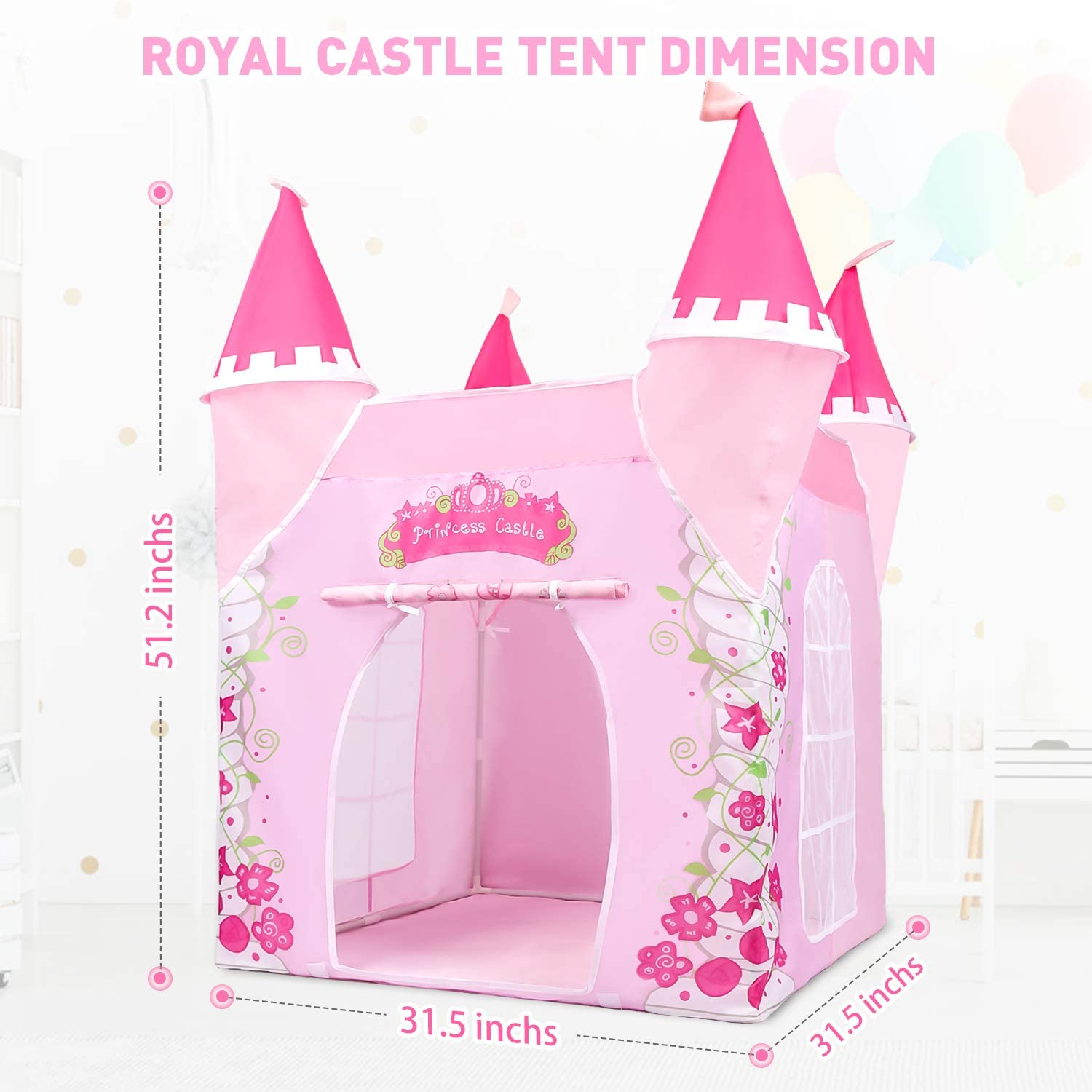 Mitcien Princess Castle Play Tent for Girls Large Playhouse Play Tent with Royal Tea Party Toy for Little Girls Indoor and Outdoor Pretend Role-Play Game
