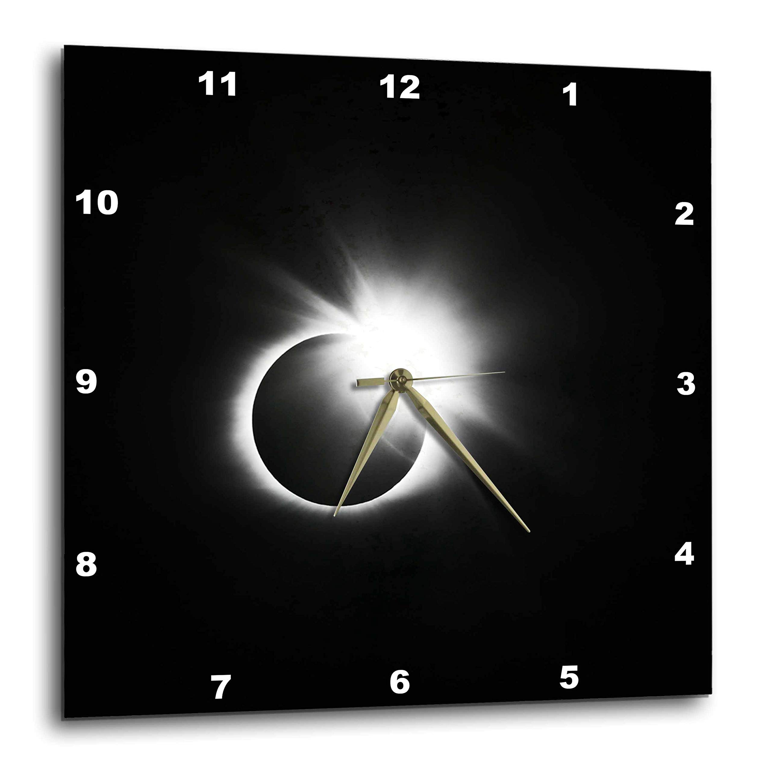 3dRose Stamp City - Astronomy - Photograph of The 2017 Solar Eclipse. Capture of The Diamond Ring. - 15x15 Wall Clock (DPP_290787_3)