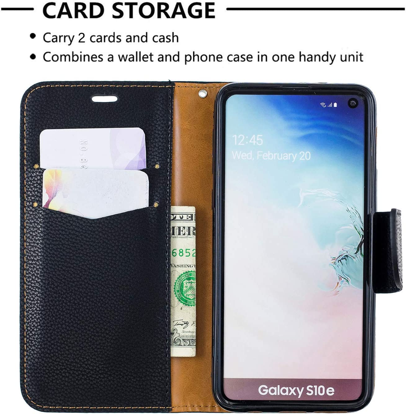 Luxury PU Leather Wallet Case for Samsung Galaxy S10,Flip Folio Case for Samsung Galaxy S10,Moiky Black Multifunctional Magnetic Kickstand Case Cover With Wrist Strap and ID/&Credit Cards Slots