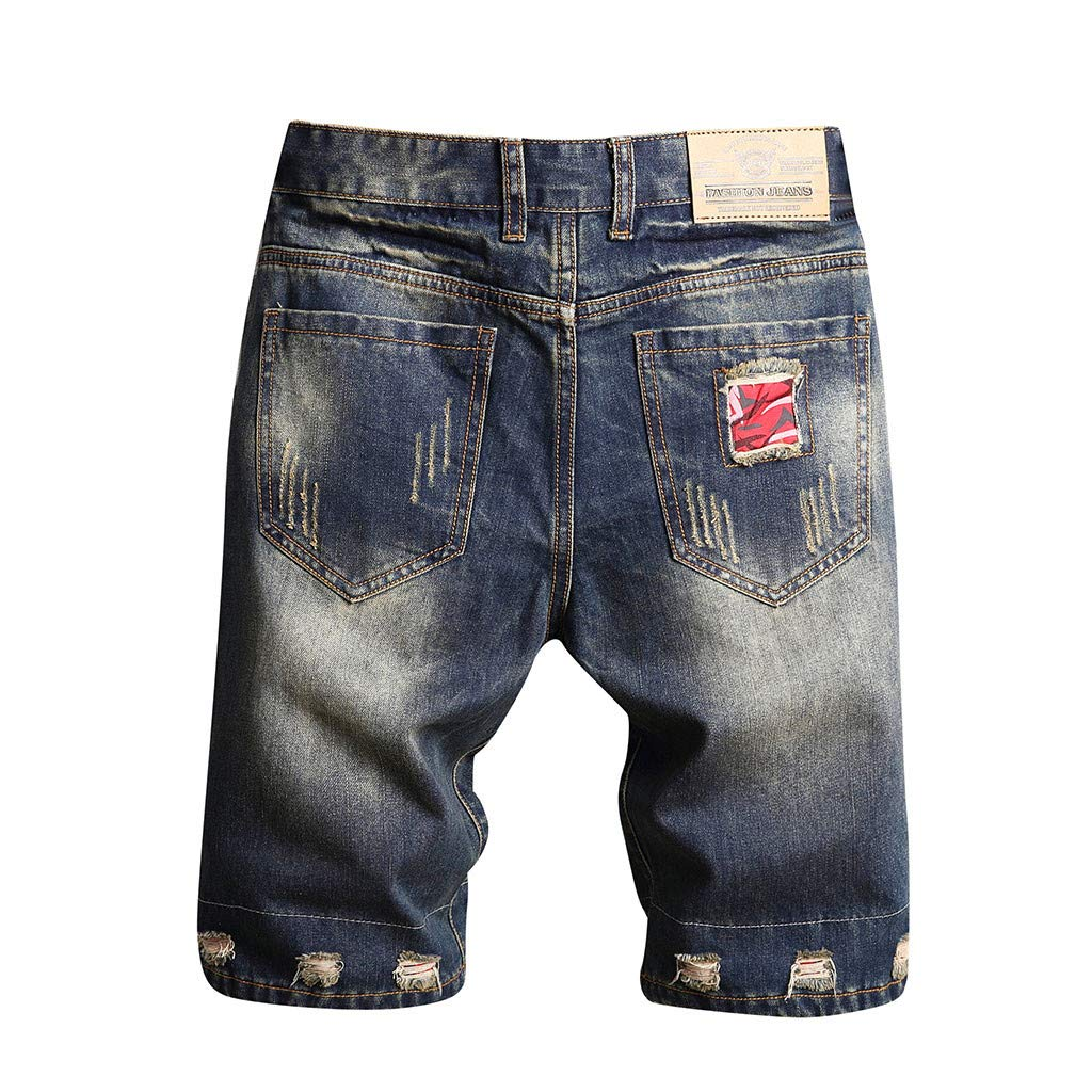 XQXCL Mens Ripped Slim Straight Fit Short Paragraph Characteristic Jeans with Zipper Button